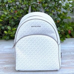Michael Kors Abbey Large Backpack MiniLogo White